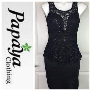 Papaya Black Peplum Sleeveless Sequin Dress